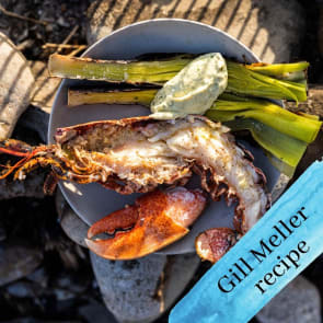 bbq lobster with charred leeks and tarragon mayo