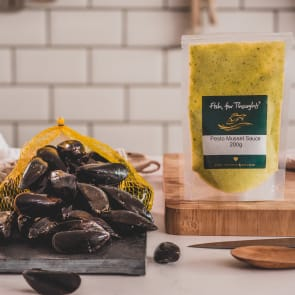 cornish mussels and pesto sauce