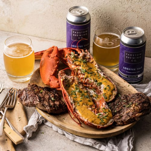 Cornish Surf n Turf with beer