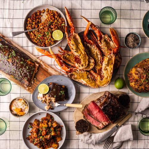 beef lobster salmon bbq box