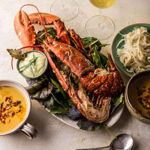 lobster soup with lobster main