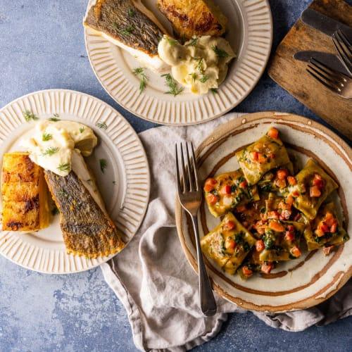 Cornish Crab Agnolotti followed by Cornish Turbot with Dauphinoise Potatoes