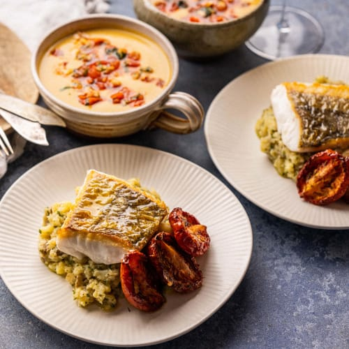 Curried Lobster Soup followed by Cornish Hake with Crushed New Potatoes