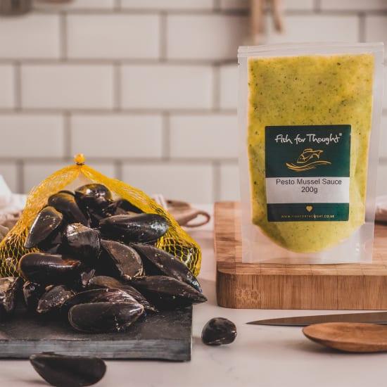 cornish mussels and pesto sauce