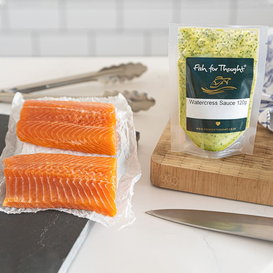 Trout with watercress sauce