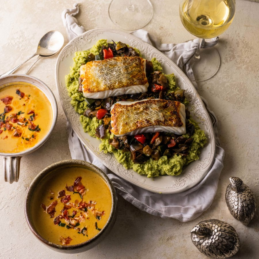Curried Lobster Soup With Cod And Provencal Vegetables