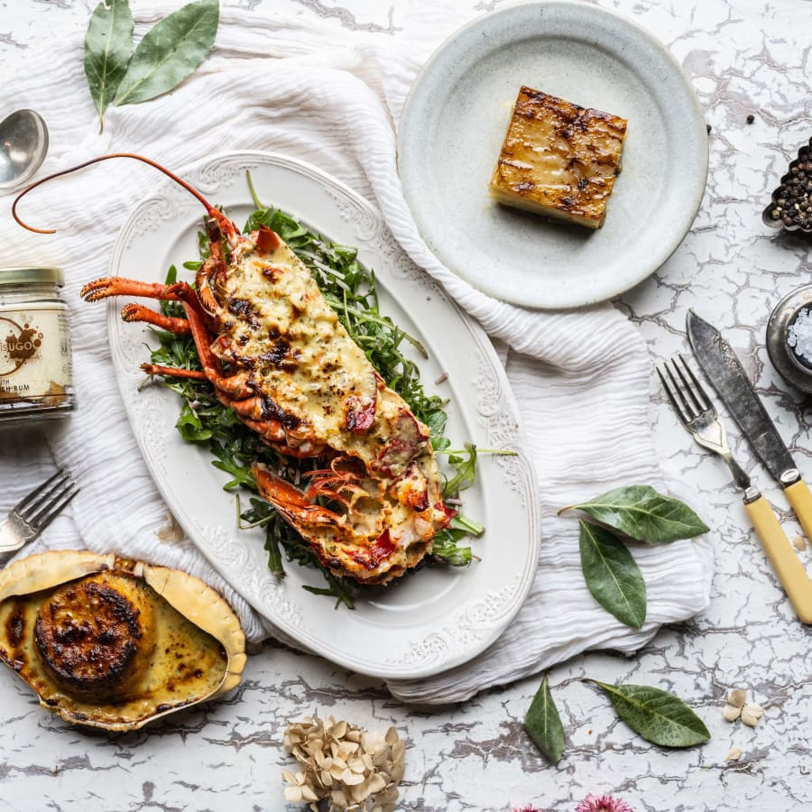 Cornish lobster thermidor serving suggestion