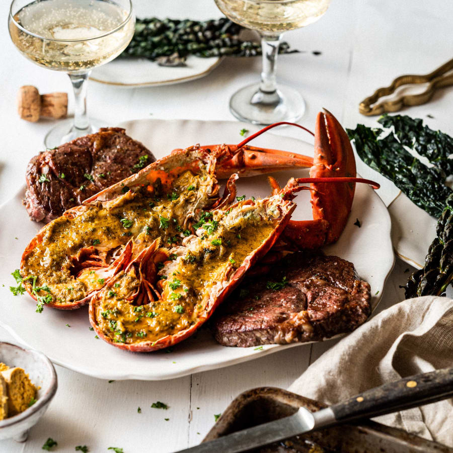 Cornish lobster surf and turf serving suggestion