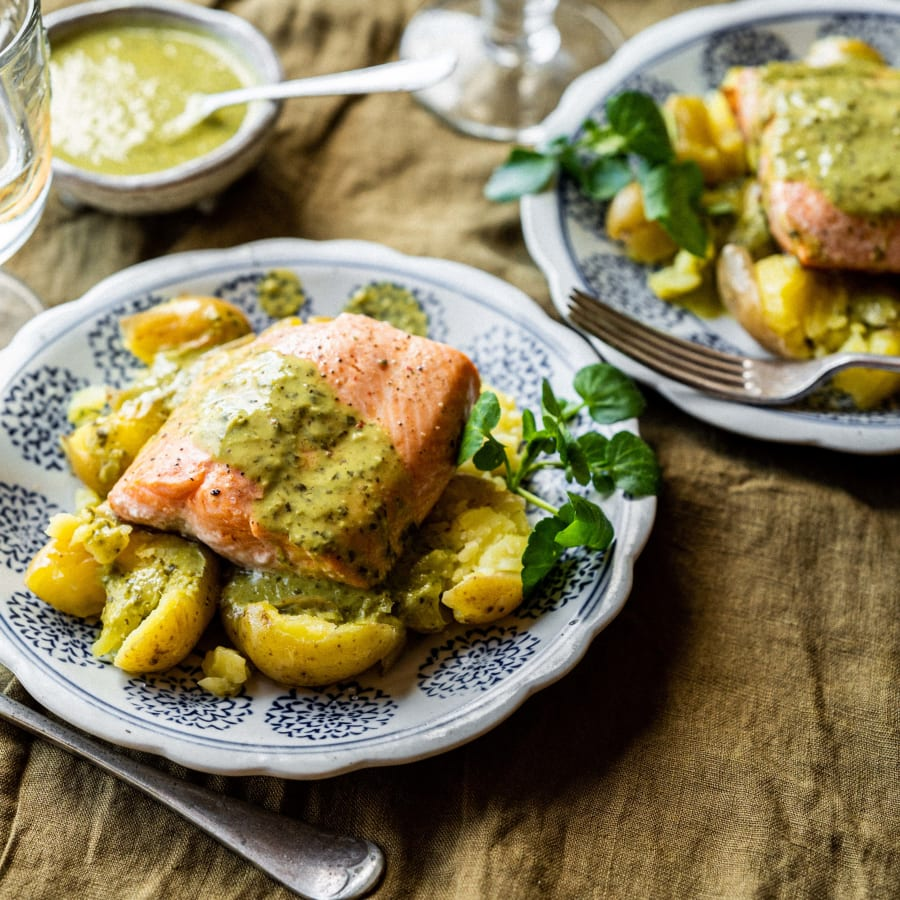 Chalk stream trout with watercress sauce