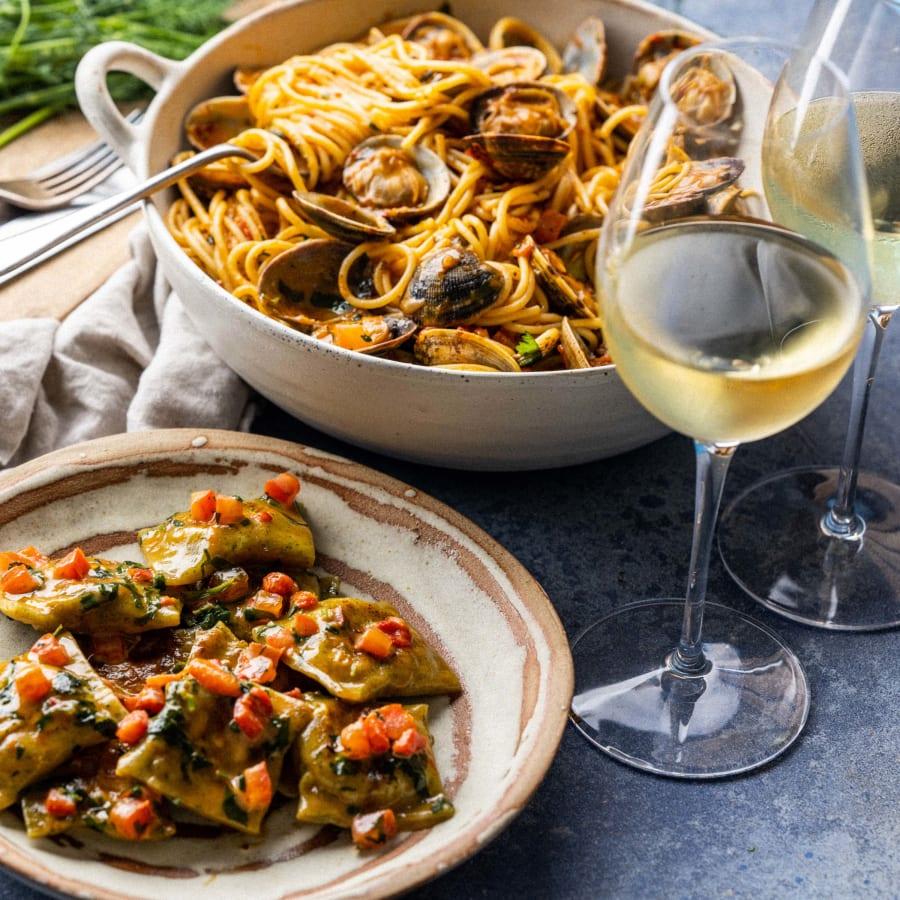 Cornish Crab Agnolotti followed by Spaghetti alle Vongole