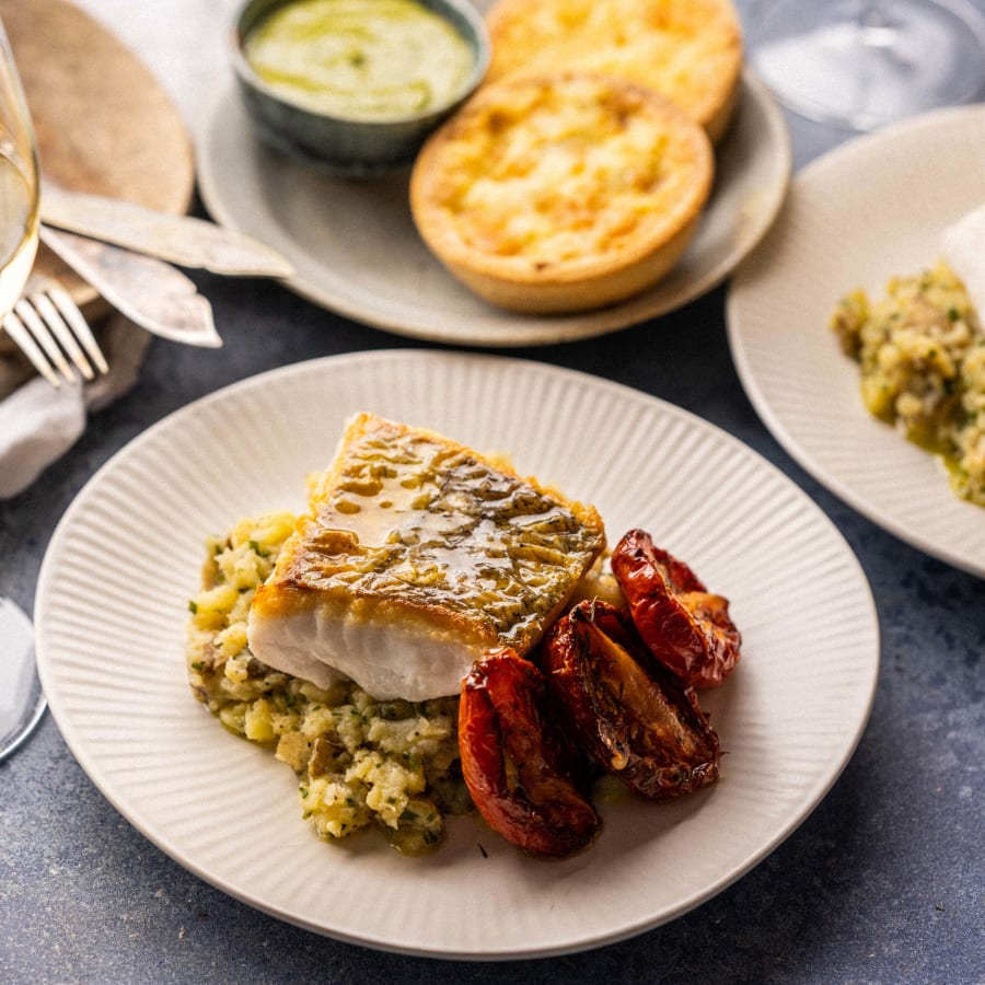 Poached Salt Cod Red Onion Tart followed by Cornish Hake with Crushed New Potatoes
