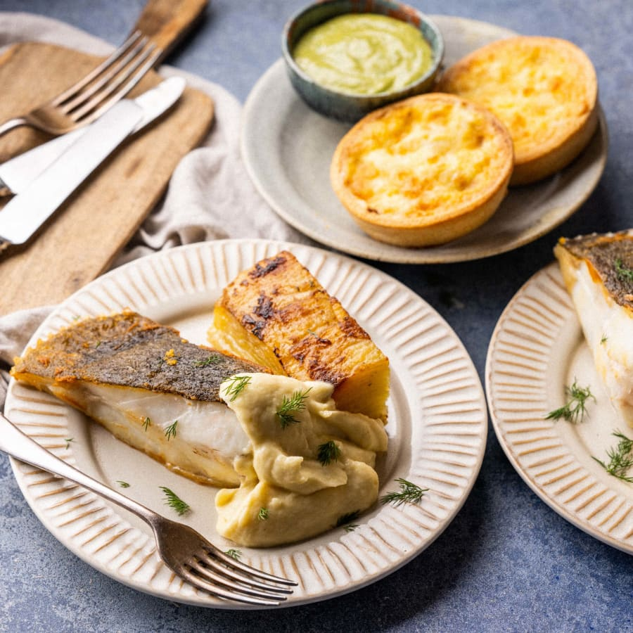 Option I - Poached Salt Cod Red Onion Tart followed by Cornish Turbot with Dauphinoise Potatoes