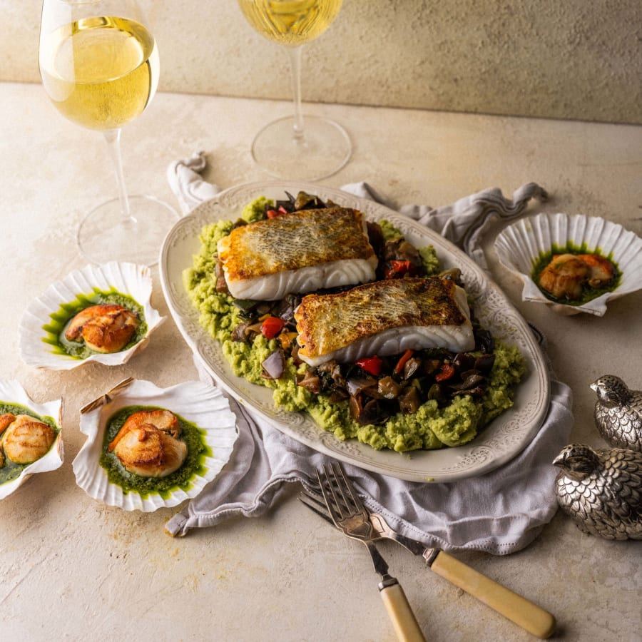 scallops with cod