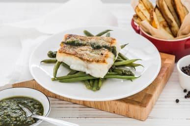 Cornish Cod, Chips, Green Beans, & Pesto