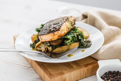 Honey Roast Salmon with Roast Potatoes, Cauliflower & Kale