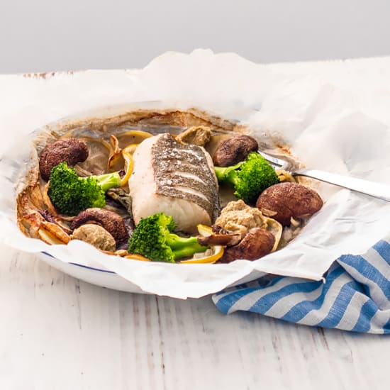 Baked Pollack with Mushroom Ketchup