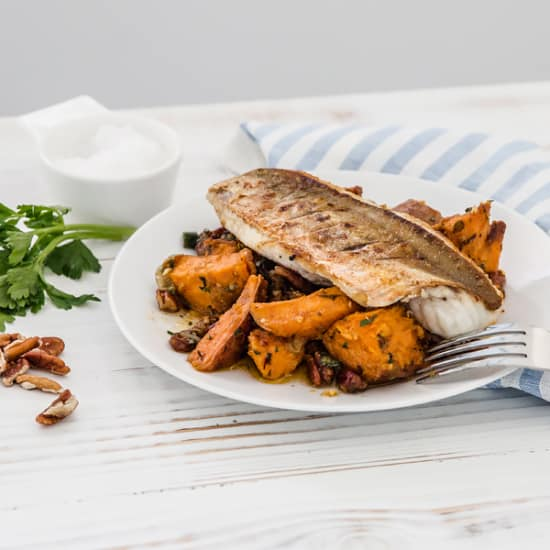 Pan-Fried Gurnard, Sweet Potato and Pecan & Maple dressing