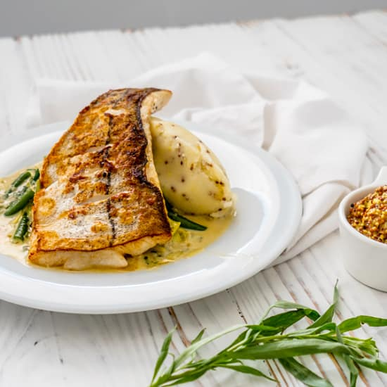 Pan Roasted Haddock, Creamed Leeks & Mustard Mash
