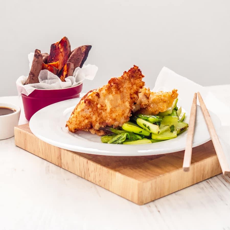 Oriental Whiting Goujons with Gong Bao Sauce & Stir~Fried Bok Choi