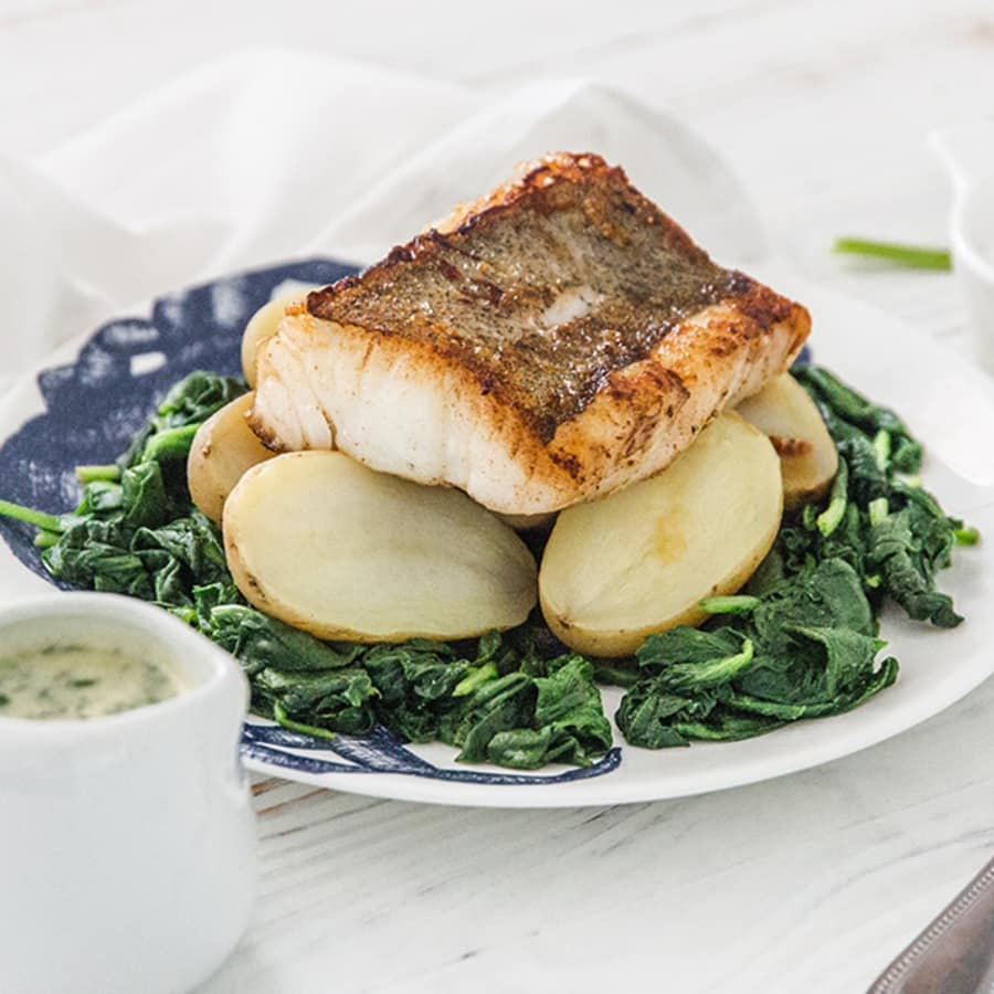 Grilled Cornish Pollack, New Potatoes, Spinach & Parsley Sauce