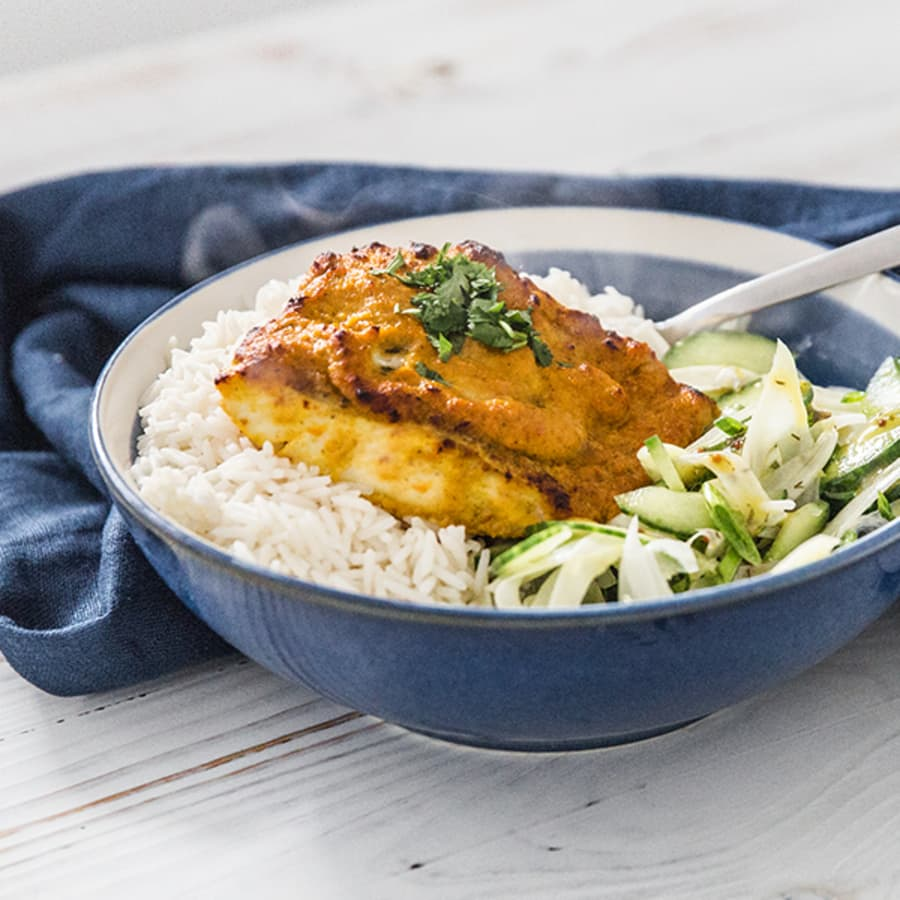 Tandoori Marinated Haddock with Steamed Rice and Fennel, Cucumber & Spring Onion Salad