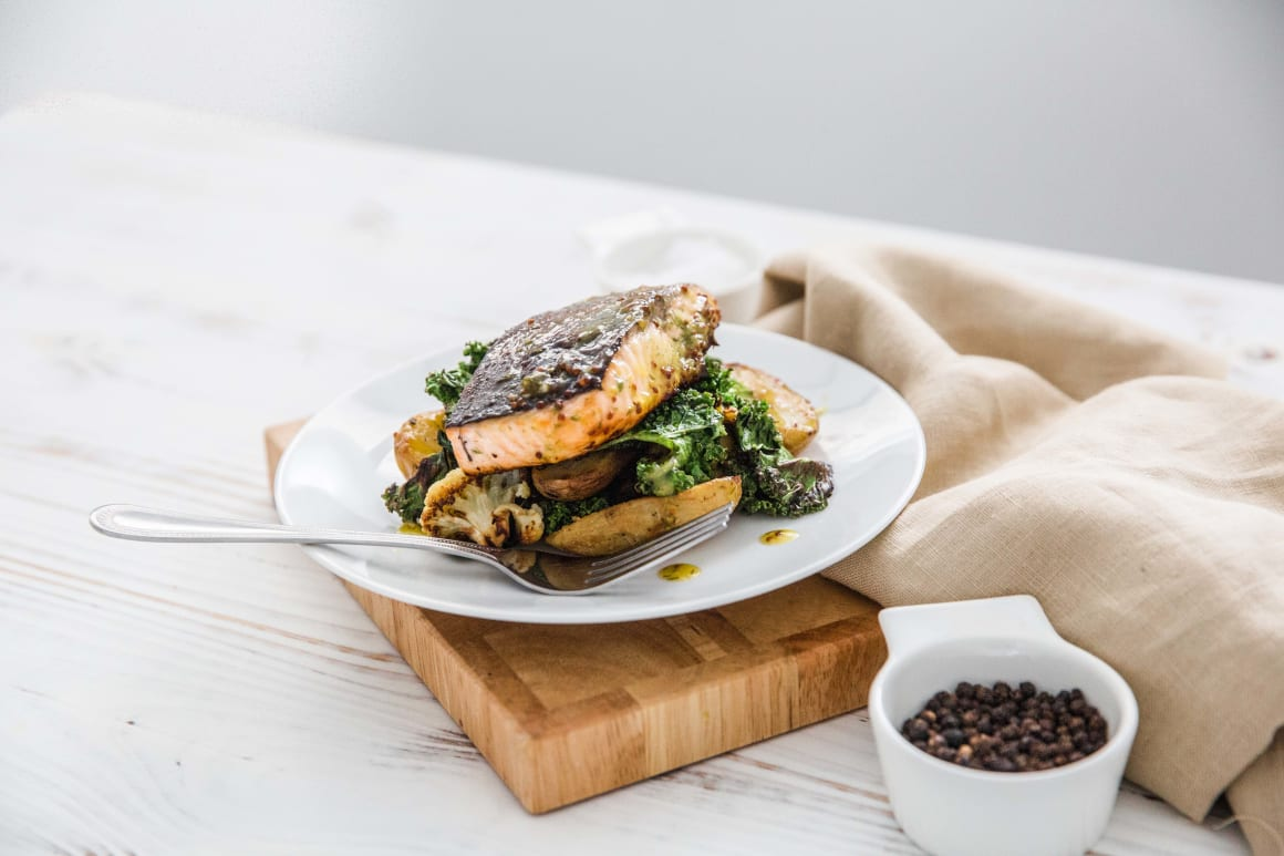 Honey Roast Salmon with Roast Potatoes, Cauliflower & Kale
