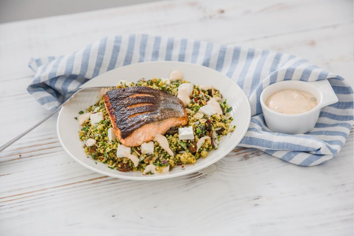 Salmon, Saffron Couscous and Lime & Coriander Yoghurt Sauce