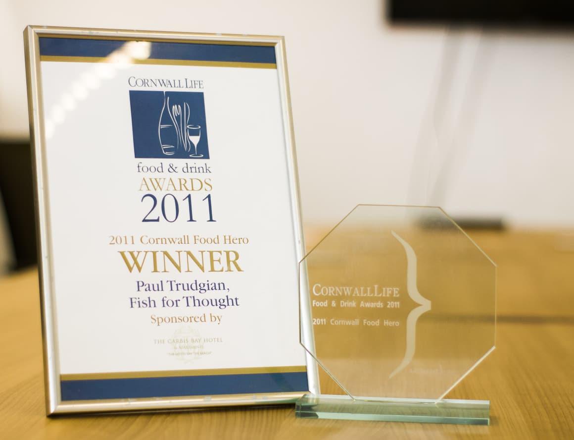 Paul wins Cornwall Food Hero Award in the Cornwall Life Food and Drink Awards