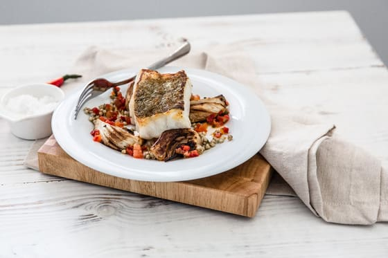 Cod Buckwheat and Tomato Red Pepper and Tarragon Sauce