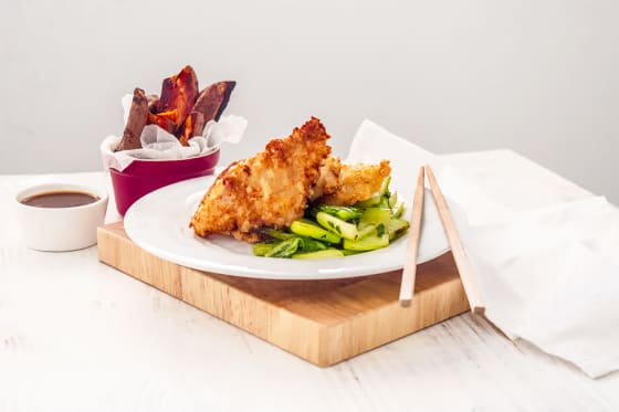 Oriental Whiting Goujons with Gong Bao Sauce & Stir~Fried Bok Choi