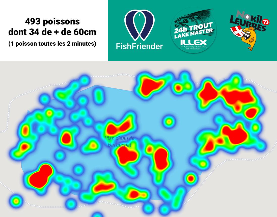 Répartition géographique des prises lors du 24H Illex Trout Master 2018 au lac du Barouchat