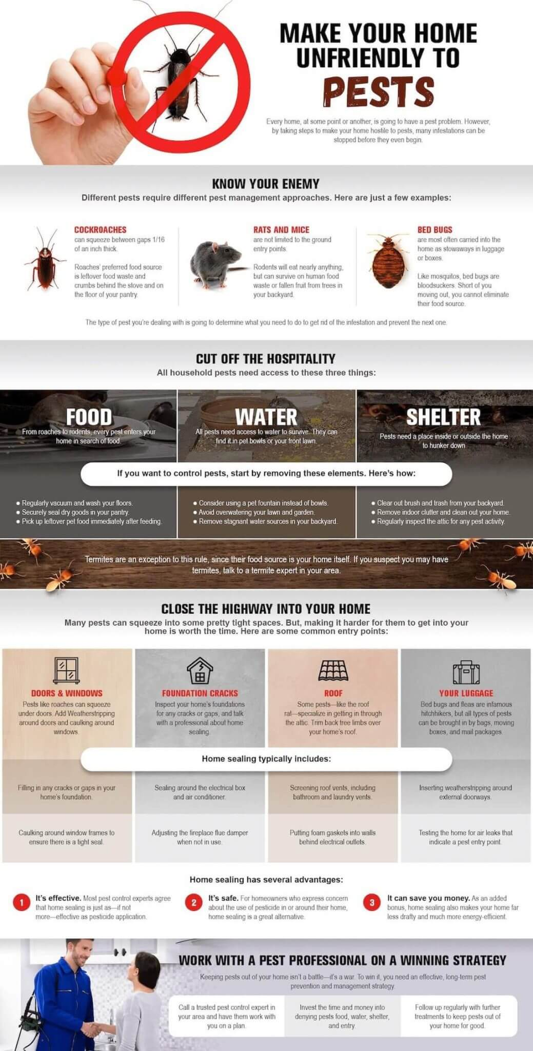 This infographic outlines several ways homeowners can work to make their homes more unfriendly to invasive pests.