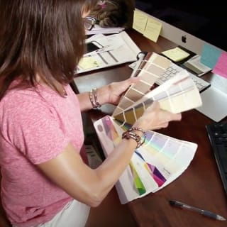 Our Professional Color Consultant reviews several potential color options for a painting project in Mesa, Arizona.