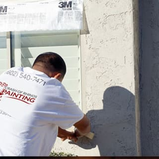 As part of our extensive prep work process, we take the time to repair stucco defects and damage like this.