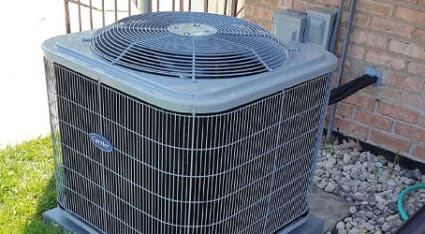 A Carrier air conditioner, recently repaired by a NATE-certified and experienced technician from the team at King.