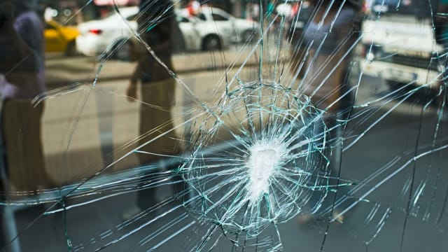 Does your storefront have shattered or damaged glass like the pane pictured here? Call us for glass replacement in Pittsburgh.