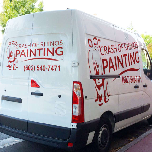 Our Crash of Rhinos van carries our painters to painting projects throughout the Valley of the Sun!