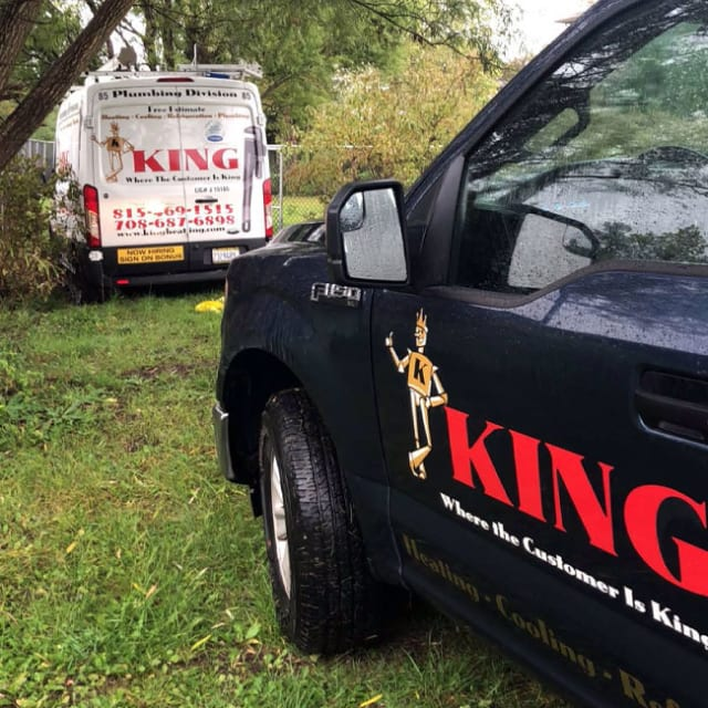 King Heating, Cooling & Plumbing is repairing a customer's HVAC and plumbing.