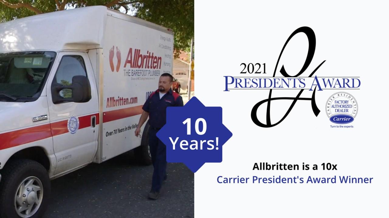 Carrier President's Award Winner for 2021. We have won 10 times!