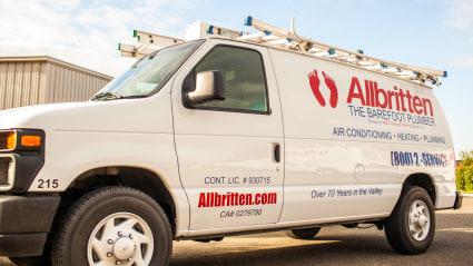 This Allbritten service vehicle sits ready to head out to local homes here in Fresno and the Central Valley.