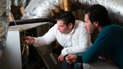 While repairing a furnace in Fresno, our technician notices an issue that needs to be reviewed with the homeowner.