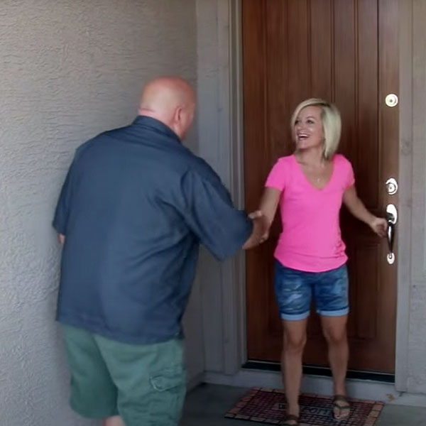 Our owner, Mike, arrives for an inspection at a local home, and greets the homeowner with a handshake and a smile.