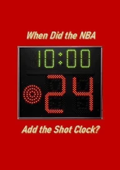 When did the NBA add the shot clock? On April 22, 1954, Syracuse Nationals owner Danny Biasone offered up the idea of the 24-second shot clock.