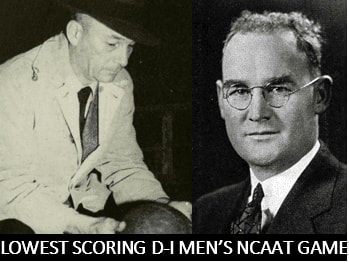 The lowest scoring NCAA Tournament game was played in 1941 between North Carolina and Pittsburgh. Pitt won, 26-20, as the bar was set at 46 points.
