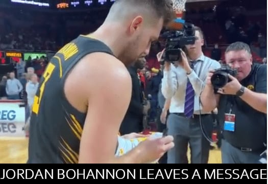 After Iowa defeated Iowa State, 84-68, at Hilton Coliseum in the annual Cy-Hawk rivalry game, Jordon Bohannon left his shoes with a message on the court.