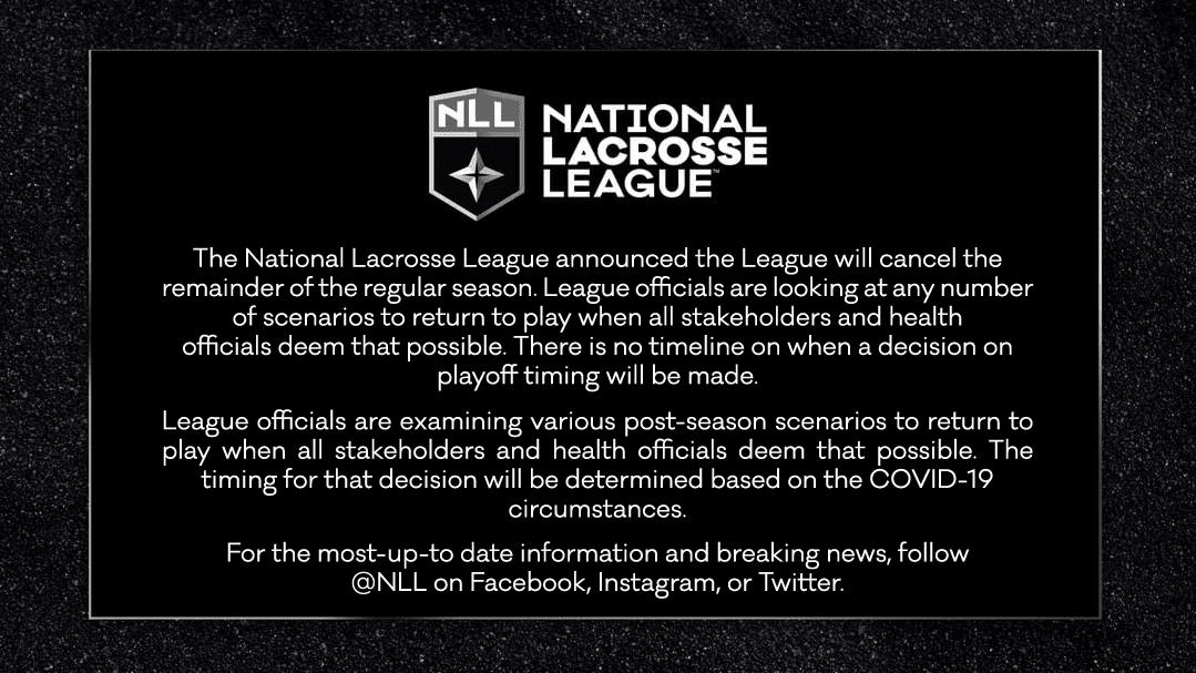 NLL Announces Cancellation of 2020 season
