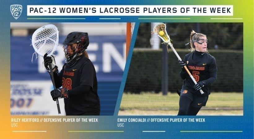 pac 12 women's lacrosse players of the week usc women's lacrosse february 24