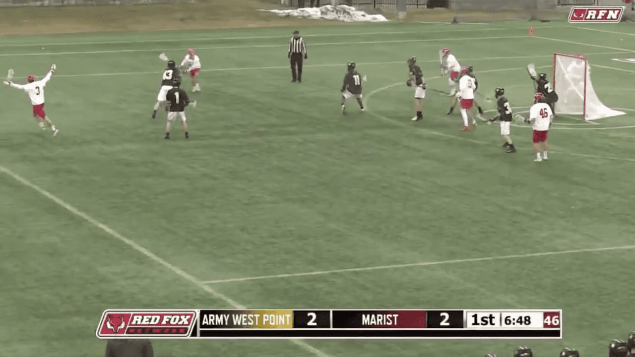 marist men's lacrosse army black knights lacrosse no-look celebration goal lacrosse
