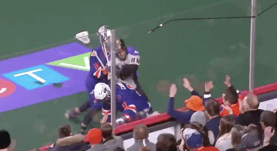 scott campbell controversial hit halifax thunderbirds san diego seals pro lacrosse box lacrosse nll national lacrosse league