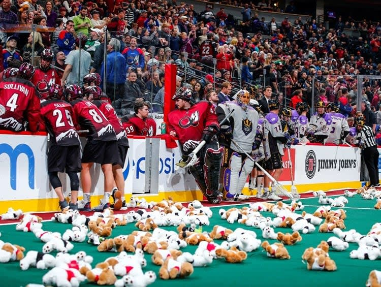 colorado mammoth teddy bear toss nll national lacrosse league